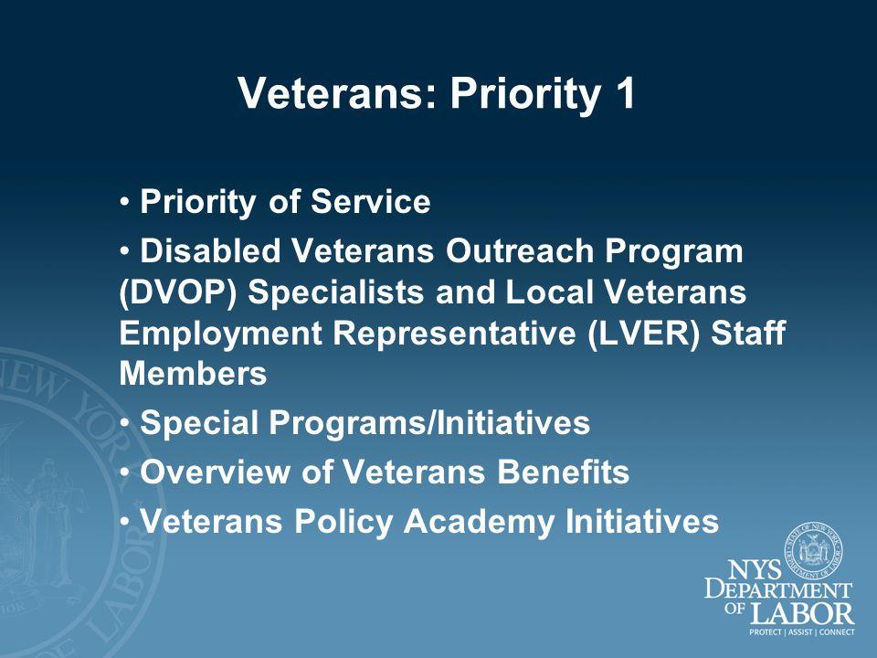 Veterans: Priority 1 Priority of Service