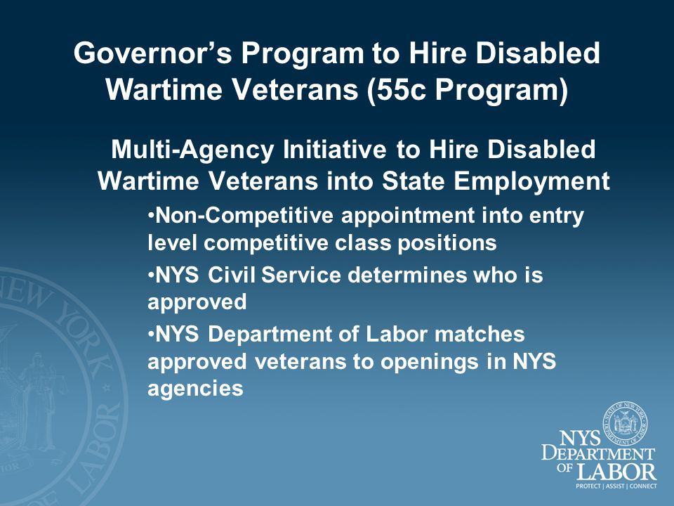 Governor's Program to Hire Disabled Wartime Veterans (55c Program)