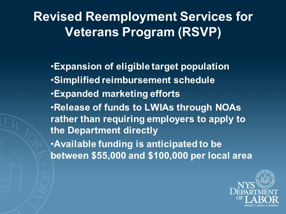 Revised Reemployment Services for Veterans Program (RSVP)