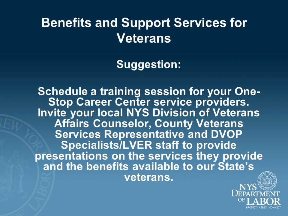 Benefits and Support Services for Veterans