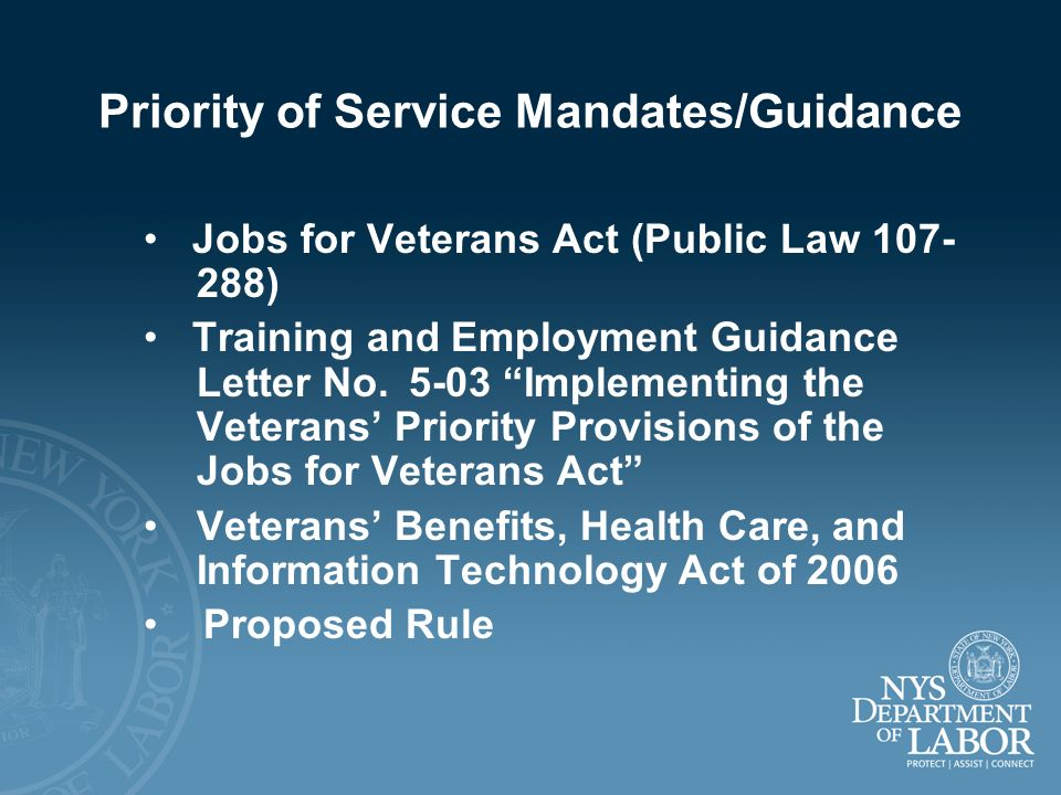 Priority of Service Mandates/Guidance