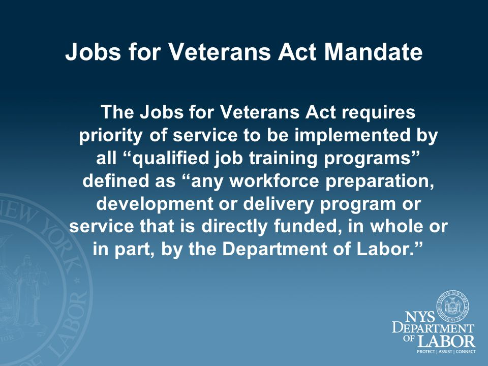 Jobs for Veterans Act Mandate