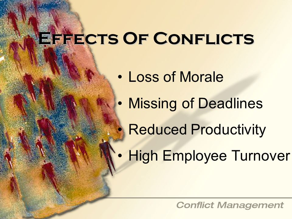 Effects Of Conflicts Loss of Morale Missing of Deadlines