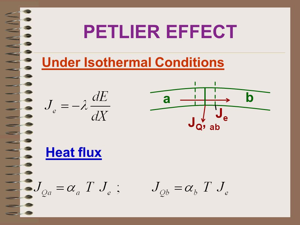 PETLIER EFFECT Under Isothermal Conditions a b JQ, ab Je Heat flux