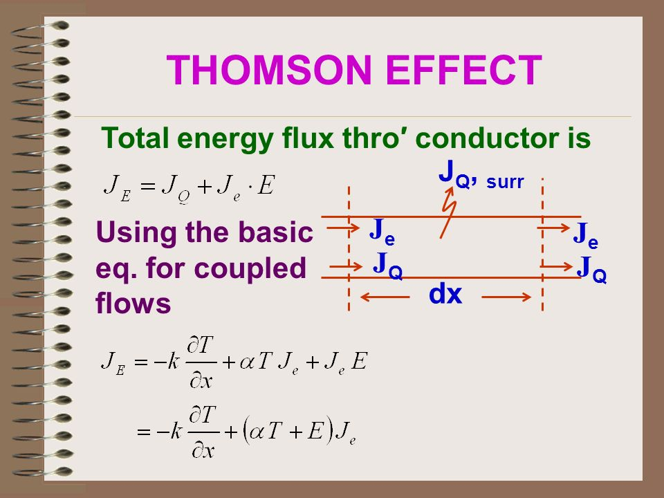 THOMSON EFFECT Total energy flux thro′ conductor is JQ, surr Je