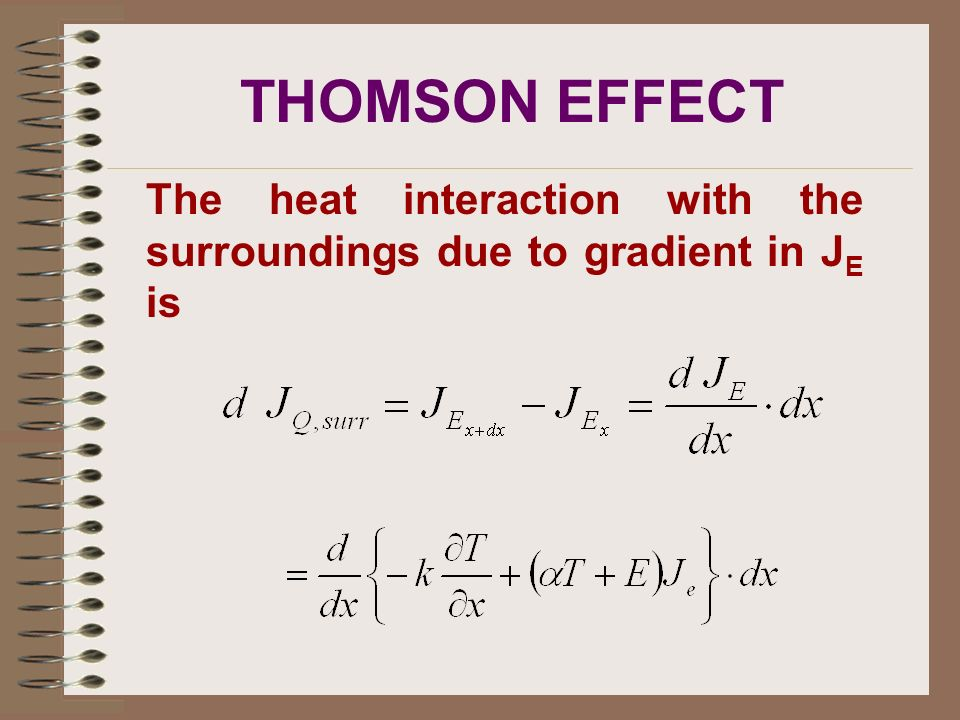 THOMSON EFFECT The heat interaction with the surroundings due to gradient in JE is