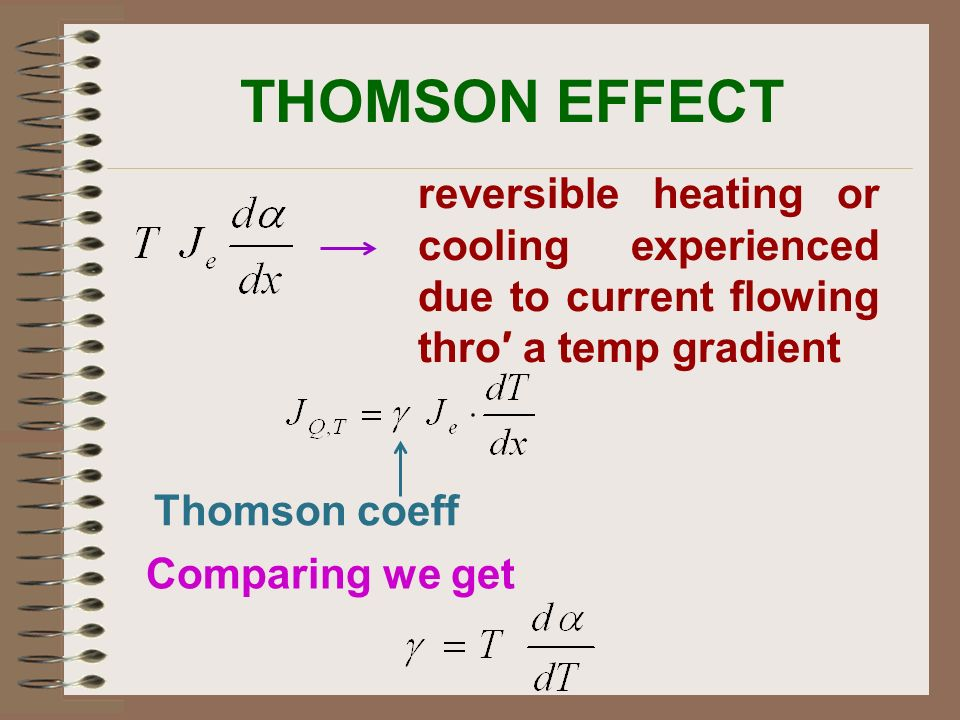 THOMSON EFFECT reversible heating or cooling experienced due to current flowing thro′ a temp gradient.