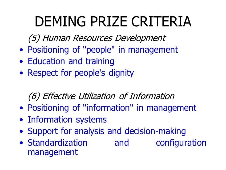 DEMING PRIZE CRITERIA (5) Human Resources Development