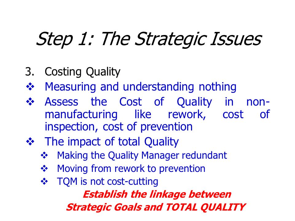 Step 1: The Strategic Issues