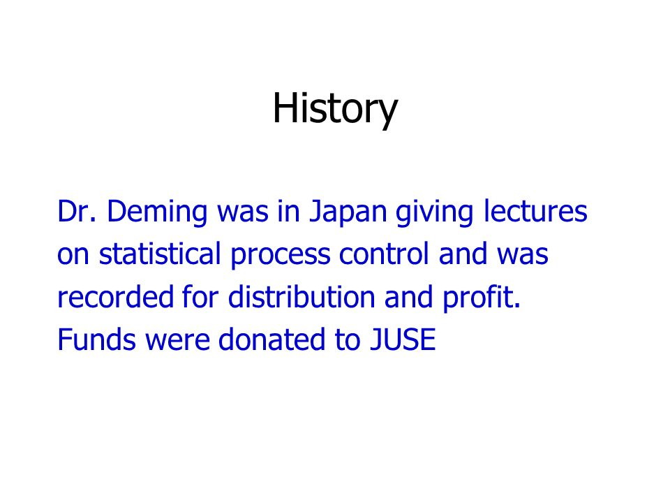 History Dr. Deming was in Japan giving lectures