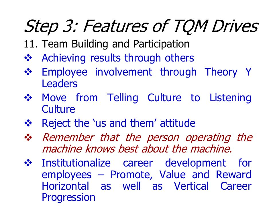 Step 3: Features of TQM Drives