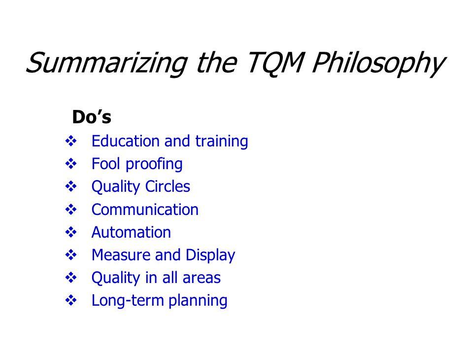 Summarizing the TQM Philosophy