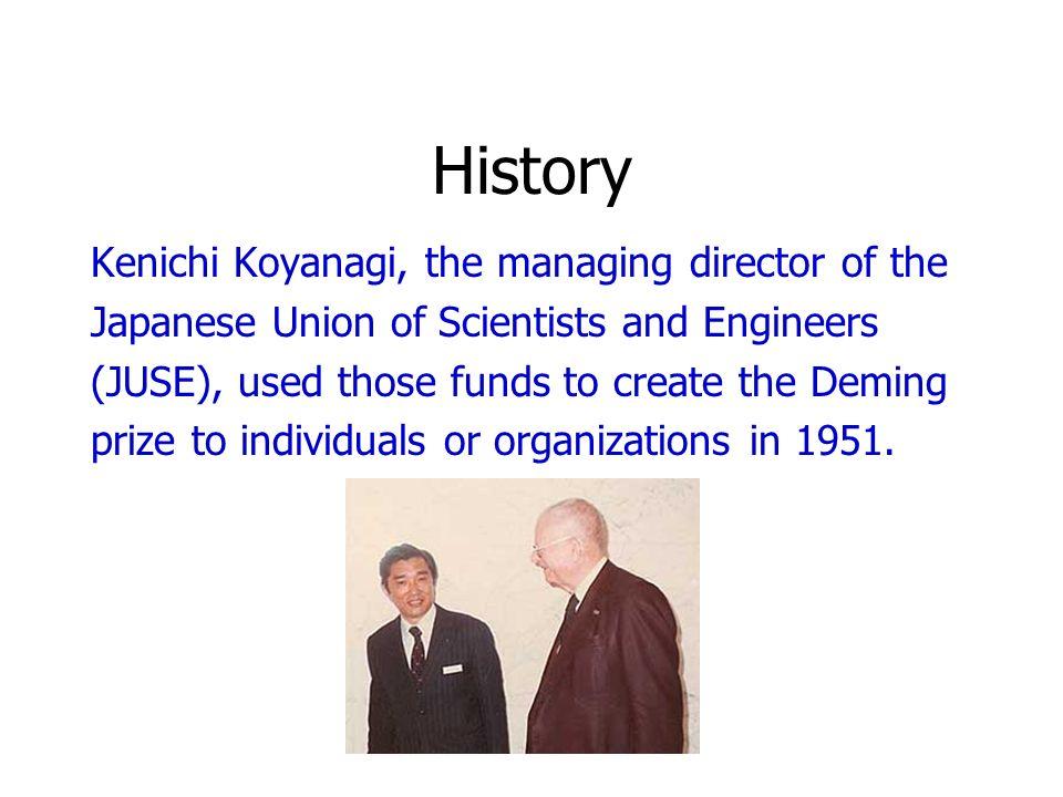 History Kenichi Koyanagi, the managing director of the