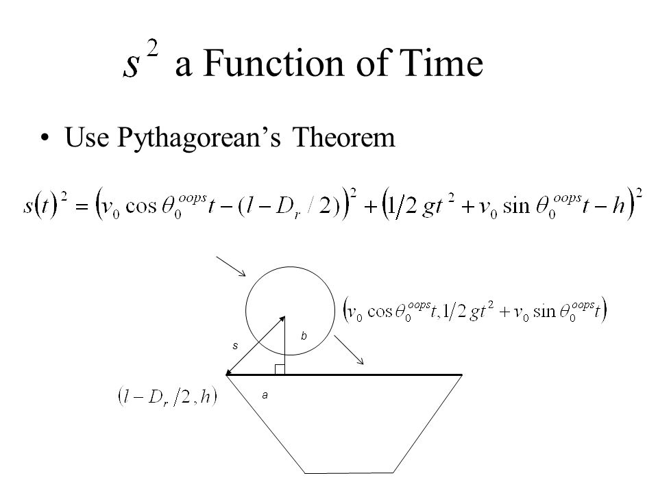 a Function of Time Use Pythagorean's Theorem s a b