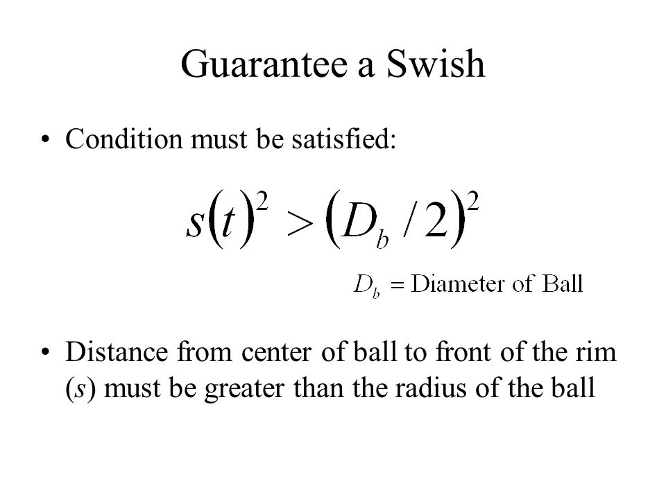 Guarantee a Swish Condition must be satisfied: