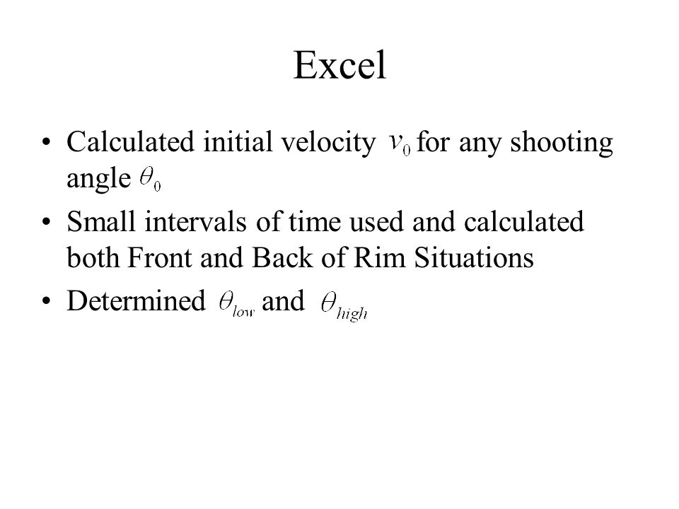 Excel Calculated initial velocity for any shooting angle