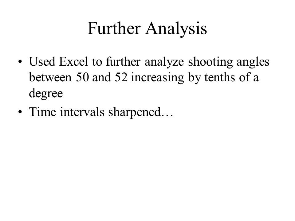 Further Analysis Used Excel to further analyze shooting angles between 50 and 52 increasing by tenths of a degree.
