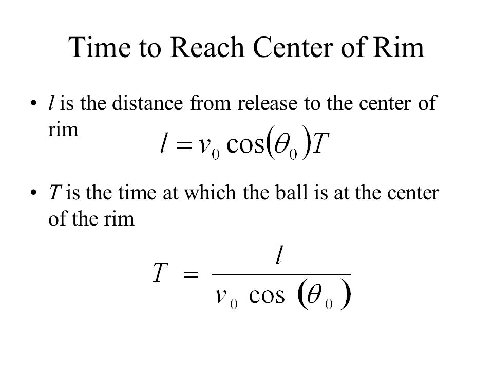 Time to Reach Center of Rim