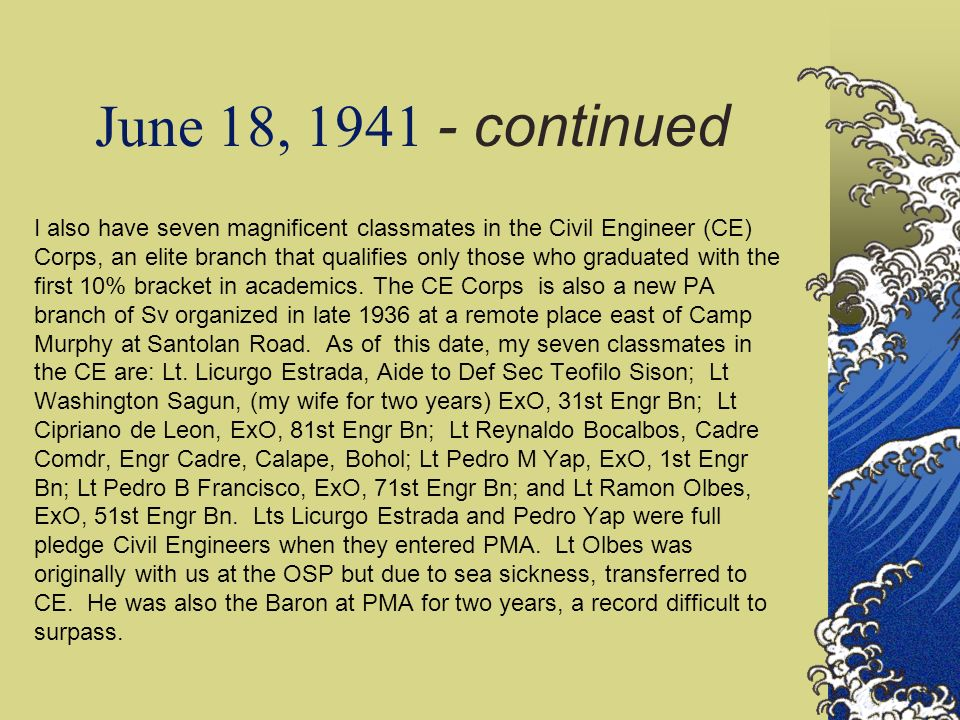 June 18, 1941 - continued