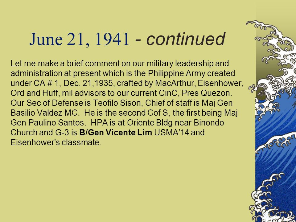 June 21, 1941 - continued