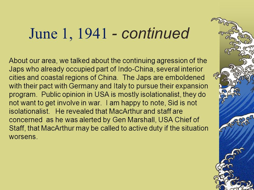 June 1, 1941 - continued