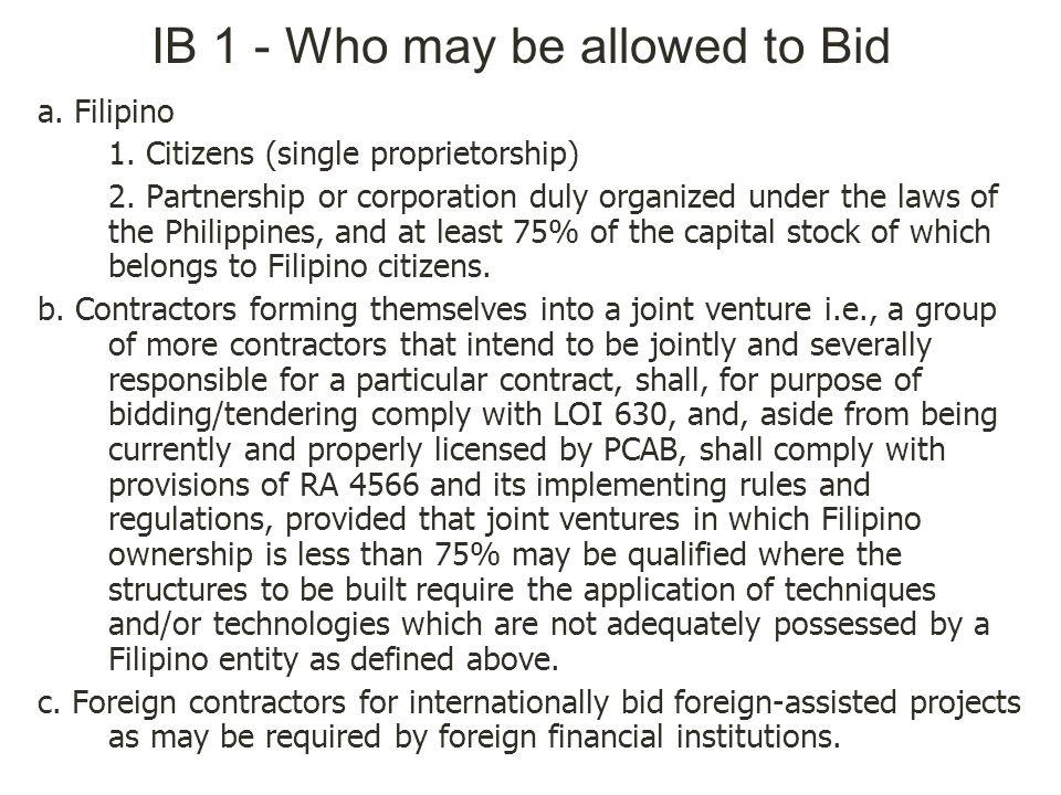 IB 1 - Who may be allowed to Bid