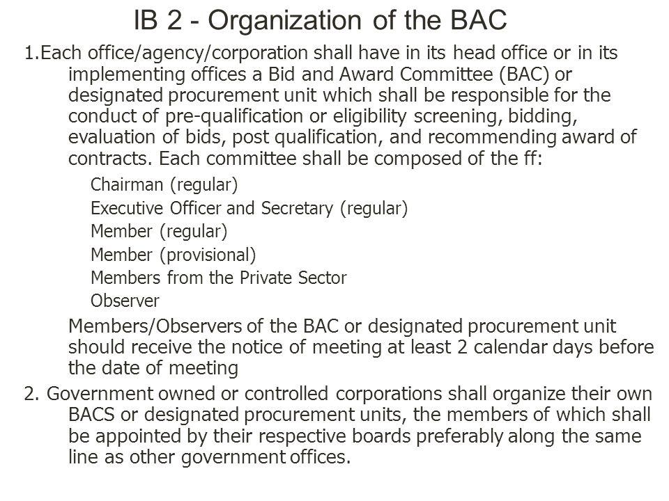 IB 2 - Organization of the BAC