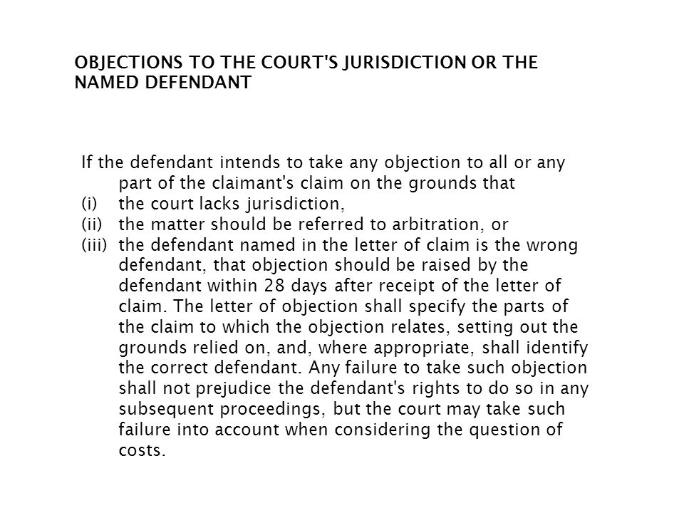 OBJECTIONS TO THE COURT S JURISDICTION OR THE NAMED DEFENDANT