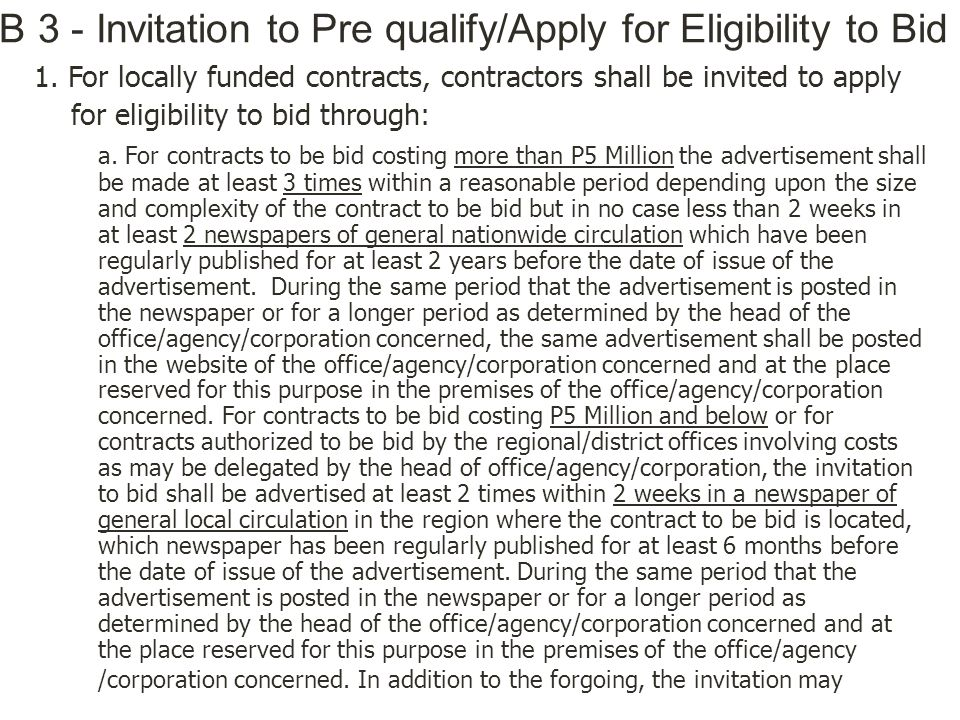 IB 3 - Invitation to Pre qualify/Apply for Eligibility to Bid