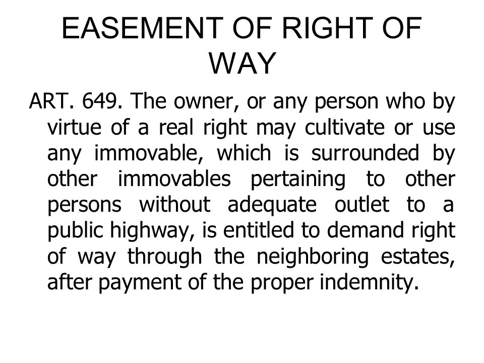 EASEMENT OF RIGHT OF WAY