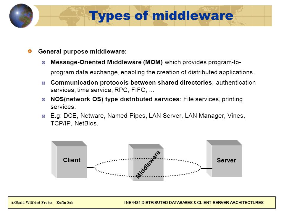 Types of middleware General purpose middleware: