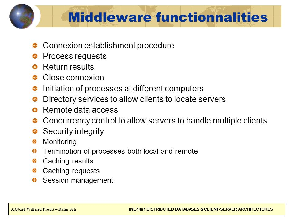 Middleware functionnalities