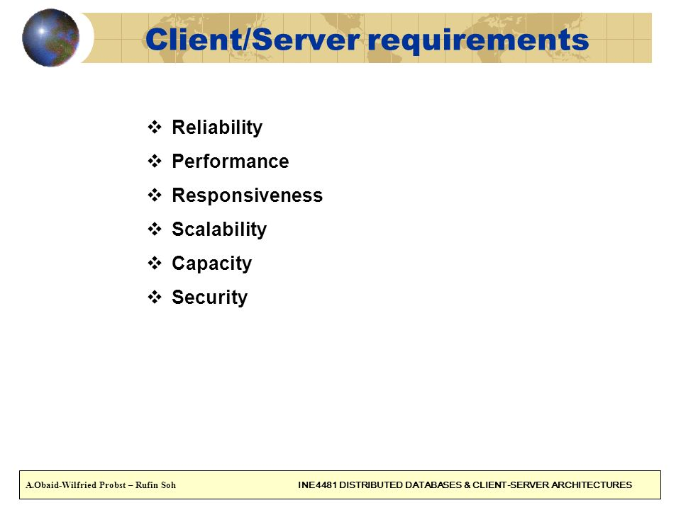 Client/Server requirements