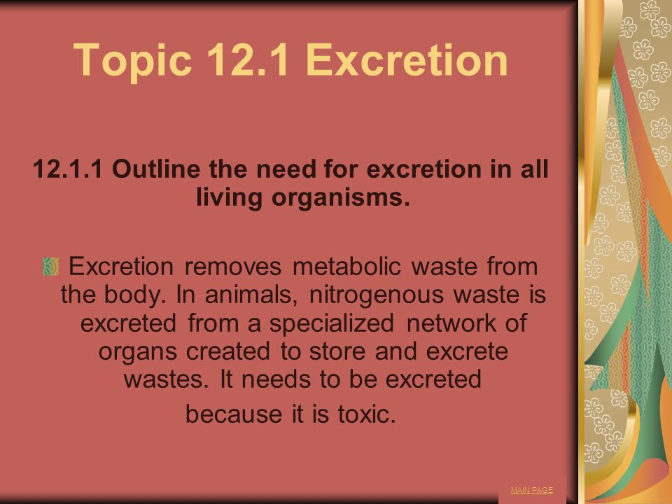 12.1.1 Outline the need for excretion in all living organisms.