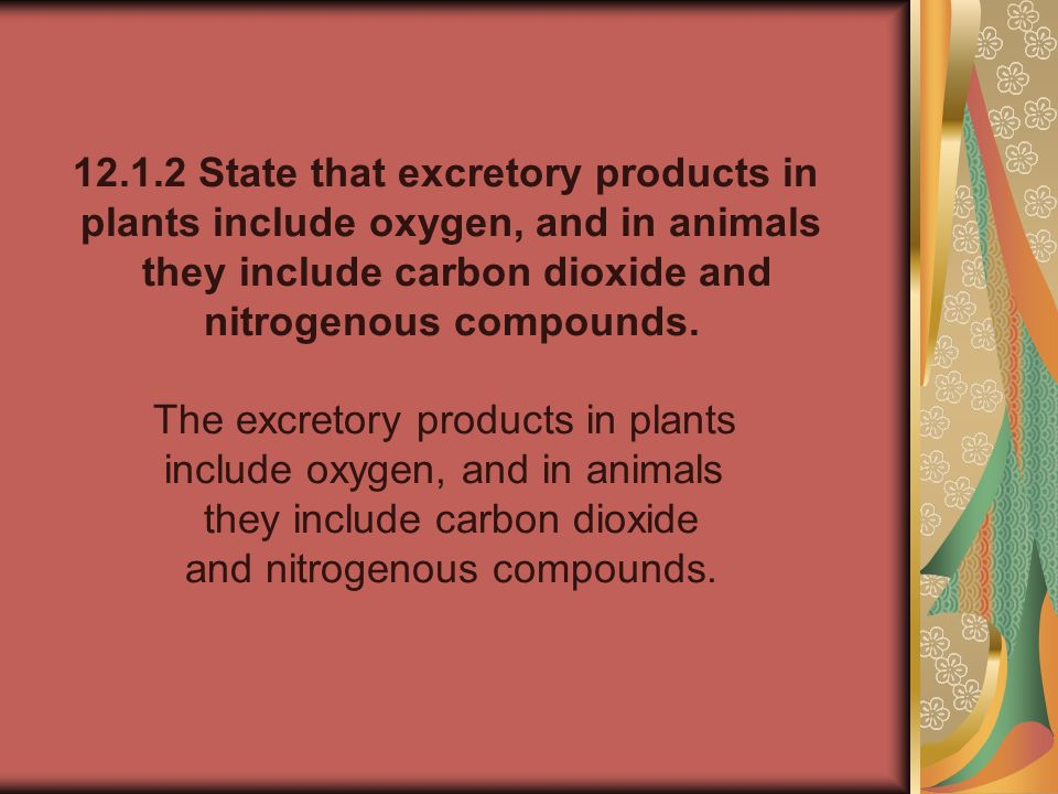 12.1.2 State that excretory products in
