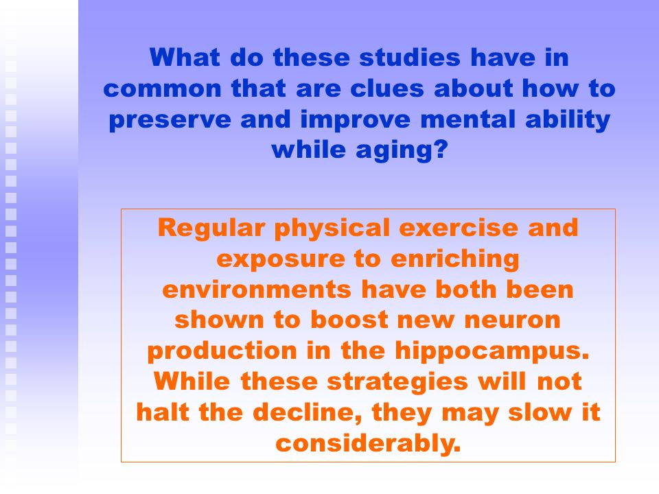 What do these studies have in common that are clues about how to preserve and improve mental ability while aging