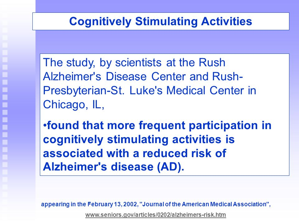 Cognitively Stimulating Activities