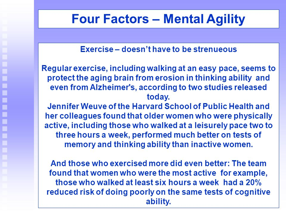 Four Factors – Mental Agility Four Factors – Mental Agility