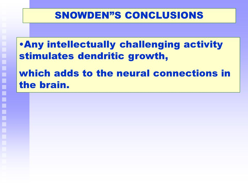 SNOWDEN S CONCLUSIONS