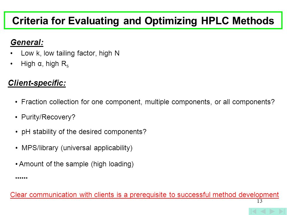 Criteria for Evaluating and Optimizing HPLC Methods