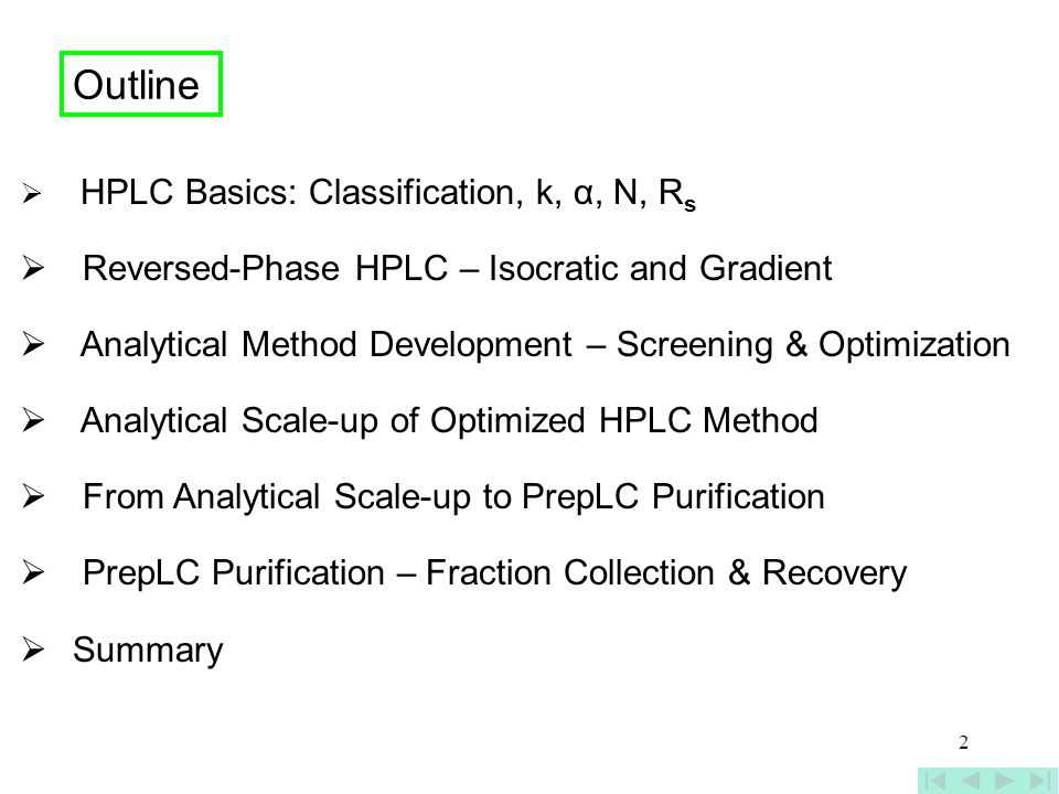 Outline Reversed-Phase HPLC – Isocratic and Gradient