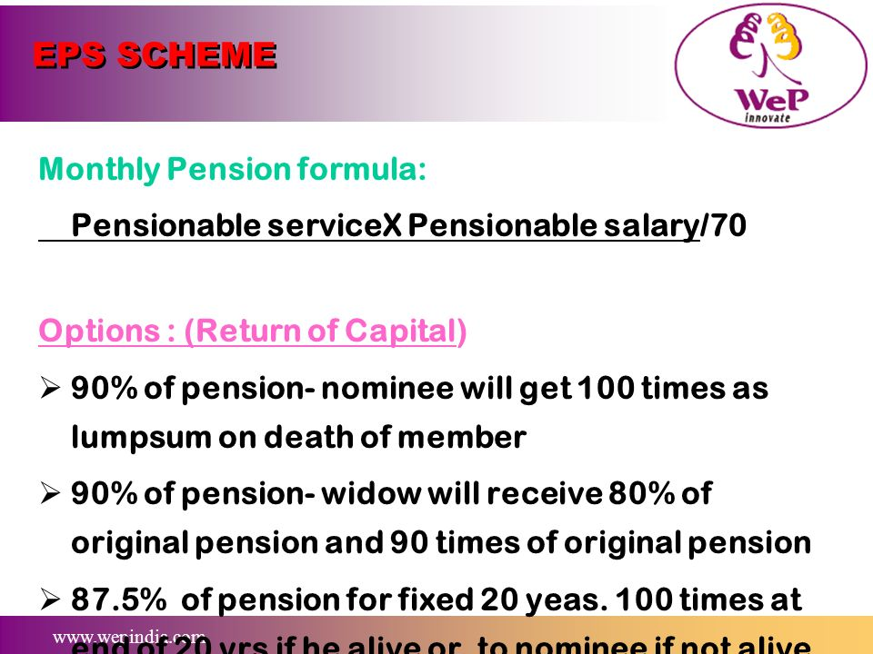 EPS SCHEME Monthly Pension formula: