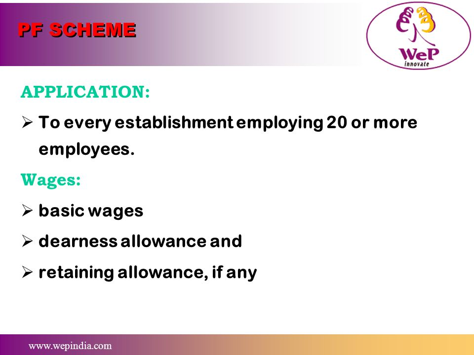 PF SCHEME APPLICATION: