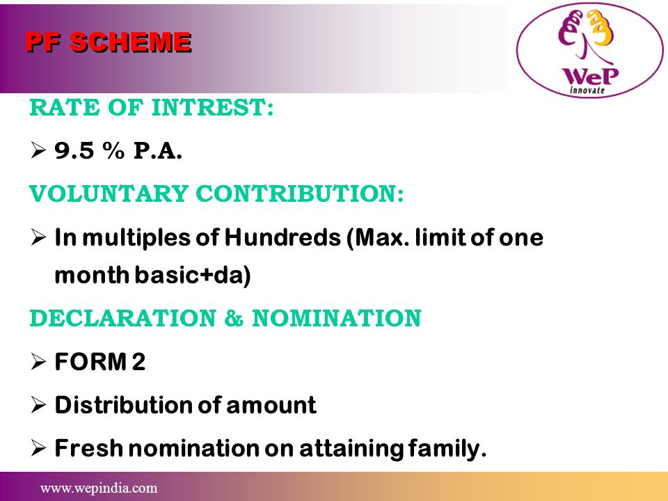 PF SCHEME RATE OF INTREST: 9.5 % P.A. VOLUNTARY CONTRIBUTION: