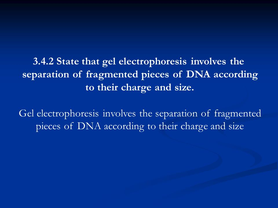 3.4.2 State that gel electrophoresis involves the