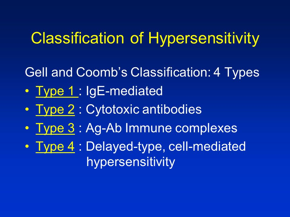 Classification of Hypersensitivity
