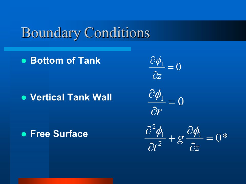 Boundary Conditions Bottom of Tank Vertical Tank Wall Free Surface