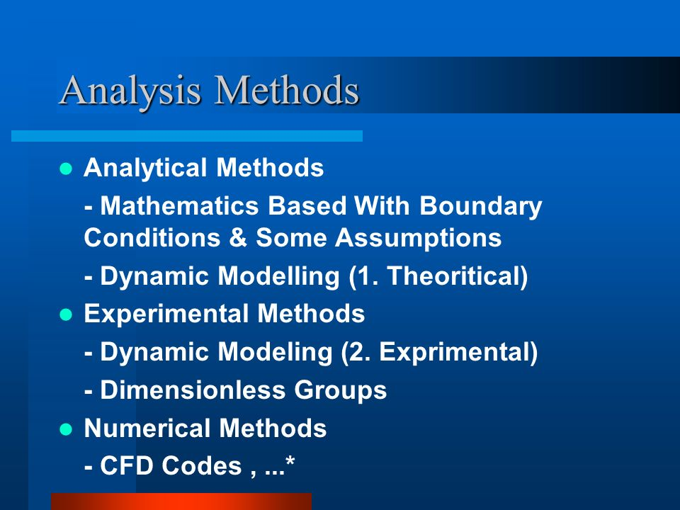 Analysis Methods Analytical Methods