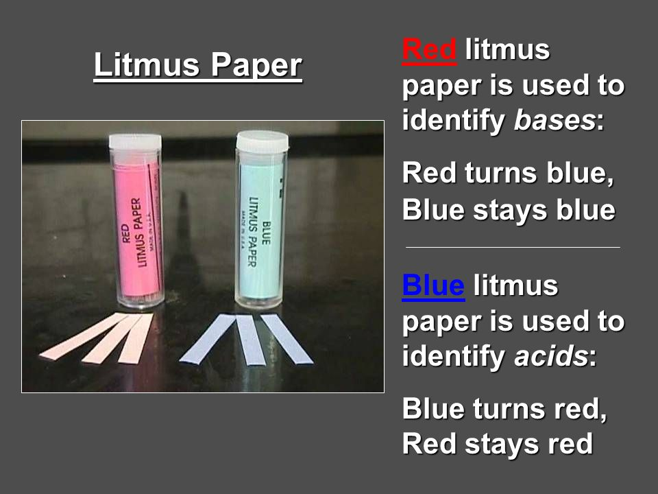 Litmus Paper Red litmus paper is used to identify bases: