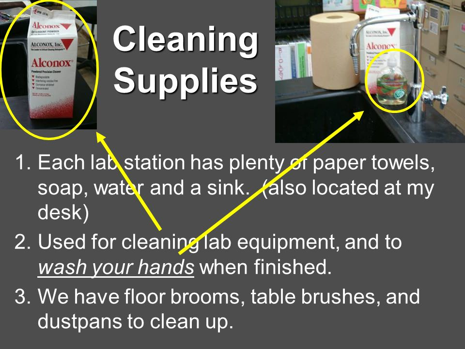 Cleaning Supplies Each lab station has plenty of paper towels, soap, water and a sink. (also located at my desk)